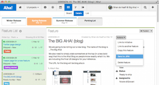 JIRA integration with Aha!