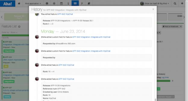 Product management activity stream