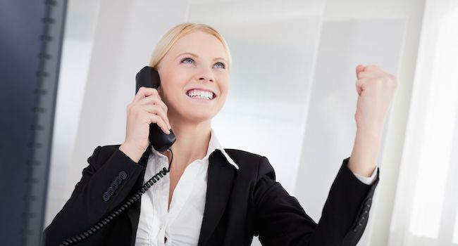 excited woman getting a raise