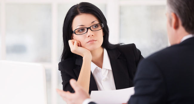 Image of a bored women during product manager interview